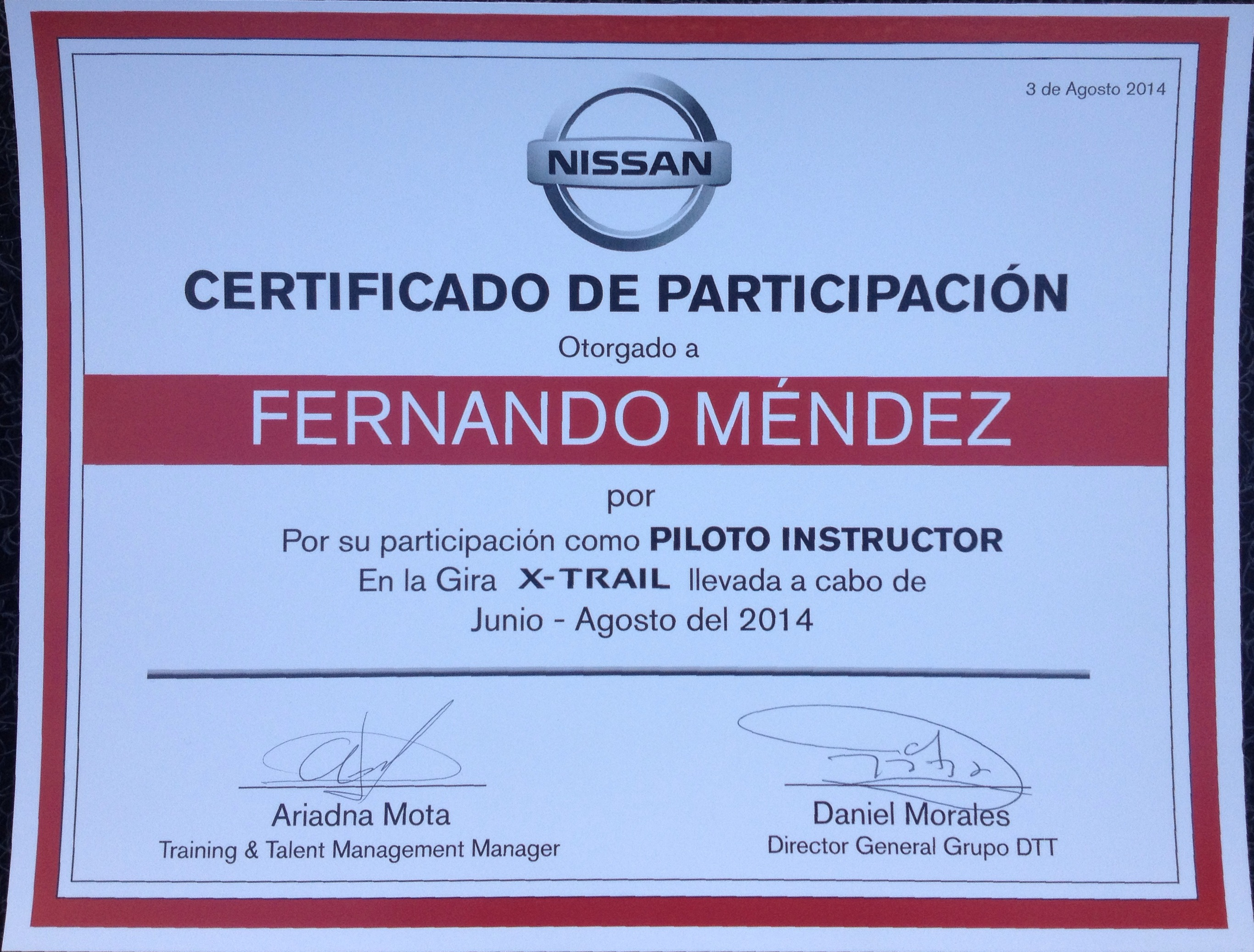 Certificaciones Chezito High Performance Driving Instructor